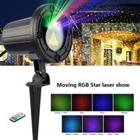Projection Lamp RGB Laser Christmas Lights Moving Stars Red Green Blue Showers Projector Garden Outdoor Waterproof IP65 Decoration with Remote and base holder