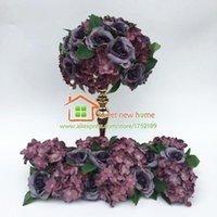 12pcs lot Table Runner Centerpiece Artificial Flowers Balls Wedding Purple Road Lead Flower Hydrangea And Rose DIY Decorative & Wreaths