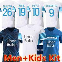 21/22 Olympique de Marseille Soccer Jerseys 2021 2022 OM Mileik Maillot القدم المأكولات Benedetto كامارا لكرة القدم قميص Thauvin Payet الرجال + أطفال مجموعة موحدة
