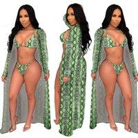 Mulheres Swimwear Senhoras 2021 Moda Sexy Leopard Imprimir Cloak Bikini Três Peça Suit Sunscreen