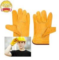 Arbeitsplatzhandschuh Arbeitsschutzhandschuhe Sicherheitsschweißen Leder gelb Farben Größe L Protect Worker Hände Baustelle