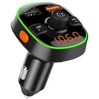USB AUX بلوتوث سيارة كيت راديو محول لاسلكي يدوي fm الارسال mp3 مشغل الصوت مشغل QC3.0 شحن سريع شاحن سريع الصمام الخلفية الالكترونيات الإلكترونيات