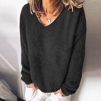 Womens Plus Size Blouse Long Sleeve Pure Color V Neck Shirts Casual Elegant Pullover Tops Loose Blouses Blusas Feminina Women's &