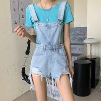 Women's Jeans Fashion Girls Summer Frayed Loose Wide-leg Denim Overalls Women Age Reduce Blue Short Pants