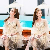 Party Dresses Champagne Homecoming Tulle Sleeves Elegant Sequins Wedding Dress Return To Home Cocktail