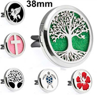 Wholesale 38mm Magnetic Plain Car Diffuser Locket 316L Stainless Steel Essential Oil Perfume Lockets(Free 10Pads) Pendant Necklaces