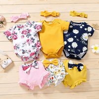Infant Clothing Sets Girls Outfits Baby Clothes Kids Wear Summer Cotton Short Sleeve Jumpsuit Rompers Flower Printed Shorts Bows Headbands 3Pcs