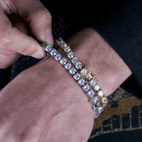 Mens Rose Gold Tennis Bracelets Iced Out Chain Fashion Hip Hop Bracelet Jewelry 5mm