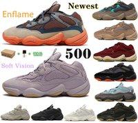 Yeni Yardımcı Programı Çöl Sıçan Enfleve 500 Batı Koşu Ayakkabıları Allık Kemik Beyaz Kanye 500s Erkek Pembe Bayan Yanma Ay Sarı Yumuşak Vizyon Taş Spor Runner Sneakers