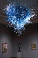 Hogar de alta calidad Interior Blown Glass Chandelier de color azul Dale 110-240V LED LED de estilo Chihuly Style Light