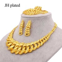 24K gold color jewelry sets for women bridal luxury necklace earrings bracelet ring set Indian African wedding ornament gifts 211015