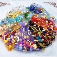 FAVORIERS Porte-bijoux Bisou Biscuits Biscuits Sac d'emballage Candy 11 * 16cm Golden Gold Gold Heart Fils Cordon Sacs de maille transparents