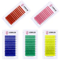 Falsche Wimpern 12 Linien Farbe Wimpern Erweiterungen 1 Paar Einzelne Wimpern Rainbow Soft Korea PBT Faser Matte Mink Makeup Werkzeuge