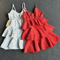 الفتيات اللباس الأبيض 2021 الشيفون دوت الحمالة تنورة الأطفال الأميرة الأزياء زهرة فساتين للأطفال ملابس الفتيات الطفل البدلة 3 99 Z2