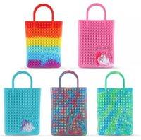 ABD stok itme duyusal fidget oyuncak çanta silikon kauçuk el çanta çantalar kalp şeklinde kabarcık top parmak bulmaca stres kabartma hediyeler