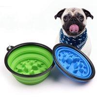 قابلة للطي كلب القط تغذية بطيئة الغذاء السلطانية المياه طبق المغذية سيليكون طوي الاختناق السلطانيات للسفر في الهواء الطلق 9 ألوان لاختيار ZWL204
