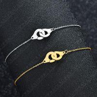 الأزياء الأولي الفولاذ المقاوم للصدأ أصفاد سوار الذهب اللون قفل زوجين للنساء رابط هدية عيد الحب، سلسلة