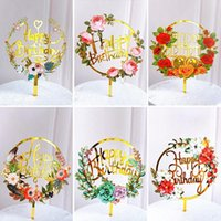 Other Festive & Party Supplies Flowers Happy Birthday Cake Topper Gold Colored Printing Acrylic For Kids Girls Decorations