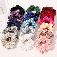 Smooth Satin Silk Scrunchies Solid Color Elastic HairBands for Women Girls Hair accessories Luxury Ponytail Holder