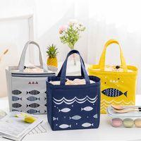 1 pz Borse per il pranzo termico stile del fumetto Oxford Impermeabile Donne Forniture Portatile Pattern di pesce Grande borsa da picnic Borsa da picnic Tote