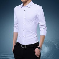 Men's Dress Shirts Business Office Male White Long Sleeve Shirt Classic Casual Professional Workwear Top Talk Work Clothes