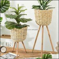 Planters Pots Patio, Lawn Home & Gardengarden Decoration Floor Vase Stand Wickerwork Flower Holder Display Potted Rack Rustic Decor Plant Po