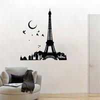 ملصقات الحائط باريس فرنسا إيفل صائق برج ليلة القمر الطيور ملصقا المنزل الديكور غير قابل للإلغاء الفن جدارية DW10916