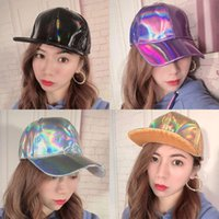 20pcs Hippie Hat Party Hats Laser Color Caps Shining PU Baseball Cap Unisex Street Hip Hop Solid Colors Snapback Hat' Casual Fashion Hats' Size Adjustable UPS
