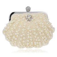저녁 가방 패션 쉘 디자인 여성 구슬 핸드 메이드 다이아몬드 찬 어깨 메신저 가방 크리스탈 웨딩 파티