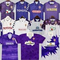 Fiorentina Retro Soccer Jersey 91 92 93 94 95 96 97 98 99 00 Batistuta Rui Costa مخصص خمر Home Football Shirt 2000 Camisas de Futbol