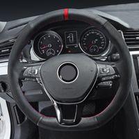 Черная замша натуральная кожаная крышка рулевого колеса для Volkswagen VW Passat B8 Golf 7 GTI GOLF R MK7 VW PLO GTI SCIROCCO