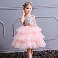 Yoliyolei meninas bolo vestido brilhante crianças mangas de malha de casamento feriados vestidos de crianças para bebê 4 a 9 anos menina