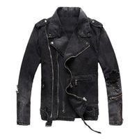 Erkek Yüksek Sokak Ceketler Moda Denim Ceket Siyah Mavi Casual Hip Hop Tasarımcı Ceket Erkek Boyutu M-4XL Için