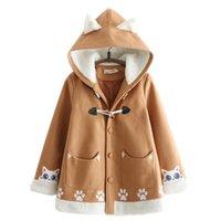 Women's Wool & Blends Womens Long 2021 Winter Hooded Coat Vintage Sweet Style Cartoon Embroidery Casual Ladies Warmness Outwear