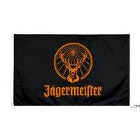 Fabrik Direkter Großhandel doppelt genäht 3x5FTs 90 * 150 cm Black Jagermeister Flagge Lebensflagge für Dekoration FWD5679