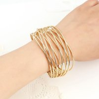 Multilayer Wire Mesh Bracelets 2021 Fashion Women Jewelry Plated Metal Bangles Maxi Open Adjustable Simple Bracelet Bangle