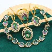 Earrings & Necklace Classic Geometric Gold Color Jewelry Sets For Women Wedding Rainbow Zircon Bracelet Pendant Bride Ring