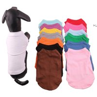 Pet Clothes Dog Apparel Cotton Shirts Solid Color Puppy T-shirt Spring Summer Sleeveless Animal Cat Cloth OWE9712