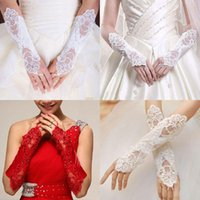 Bridal Gloves Women Long Fingerless Embroidery Lace Glitter Sequins Solid Color Elbow Length Mittens Hook Finger Wedding