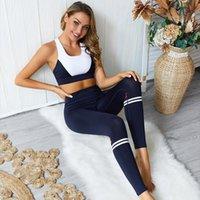 Пятно, место! Новый забастовочный цвет цвет сращивания йога брюки установить фитнес брюки костюм спортивный бюстгальтер установить верхний костюм женский йога носить