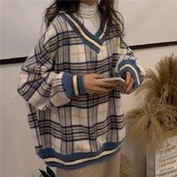 Jane Deiune 2021 autunno inverno donne sciolto maglione plaid sciolto coreano V-cracktops harajuku moda vintage moda casual pullover maglioni da donna