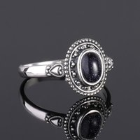 Cluster Rings Design 5X7mm Blue Sandstone Ring 925 Sterling Silver Punk Jewelry For Women Cocktail Party Birthday Gift