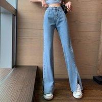 Women's Jeans Streetwear Woman Vintage High Waist Denim Trousers Pants Women 2021 Autumn Winter Korean Style Solid Lady