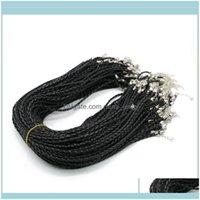 Draht Schmuck Erkenntnisse Komponenten SchmucksachenFaux Runde einstellbar schwarz 3Dot0mm, geflochtene Lederkabel Halskette 19 Zoll mit Hummerverschluss für
