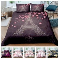 Bedding Sets Pattern 3d Digital Eiffel Tower Printing Duvet Cover Set 1 Quilt + 1 2 Pillowcases Single Twin Double Full Queen King