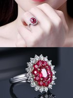 Cluster Rings Princess Luxury Red Blue Crystal Ruby Sapphire Gemstones Diamonds For Women White Gold Silver Color Jewelry Bijoux Gifts