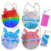 실리콘 지갑 장난감 푸시 거품 간단한 딤플 고정 가방 어깨 가방 감각 핸드백 Fidget 장난감 아이들 소녀 선물 Co14