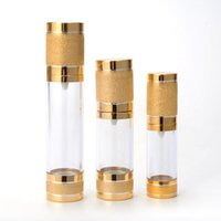 15 30ml Gold Cosmetic Airless Pump Bottle Portable Refillable Pump Dispenser Bottle For Lotion Airless Cosmetic Container