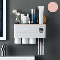 Bathroom Accessories organizer Tools Set Toothbrush Holder Automatic Toothpaste Dispenser Holder Toothbrush Wall Mount Rack 514 V2