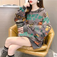 2021 large print hoodie women's top Spring and Autumn new loose cover meat graffiti lazy style INSTAGRAM fashion coat